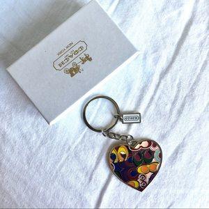 Coach Patchwork Heart Keychain Charm